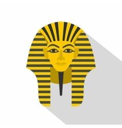 Egyptian golden pharaohs mask icon flat style vector image