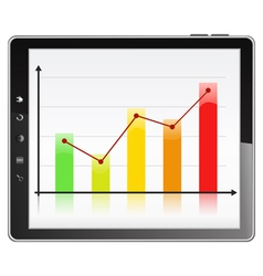 graph in tablet pc vector image