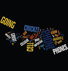 Great phones with cricket text background word vector