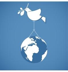 i like peace peace dove holding a globe vector image vector image