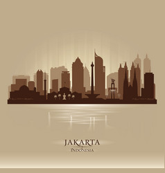 jakarta indonesia city skyline silhouette vector image vector image