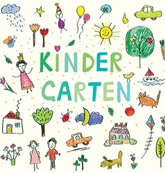 Kindergarten banner with funny kids drawing vector image