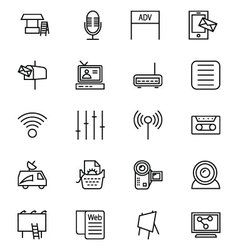 Media and advertisement line icons 4 vector