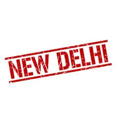 New delhi red square stamp vector