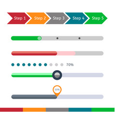 progress bar set loading status bar web vector image vector image