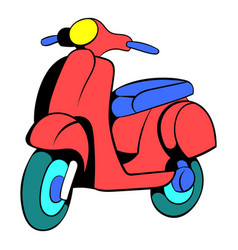 Red scooter icon cartoon vector