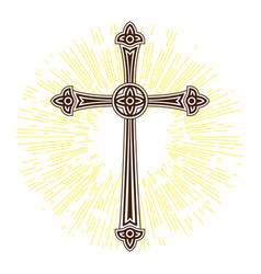 Silhouette of ornate cross with sun lights happy vector