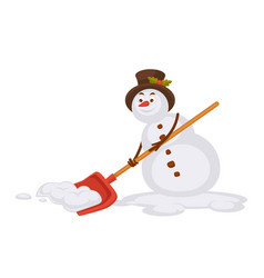Snowman in tall hat removes snow with spade vector