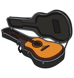 the classic accoustic guitar in a hard case vector image vector image