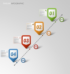 Time line info graphic colored pointer template vector