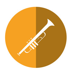 trumpet musician instrument icon shadow vector image