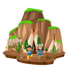 two native indians at the camp vector image