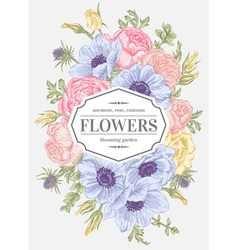 Vintage floral card with garden flowers vector
