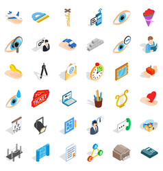 Work time icons set isometric style vector