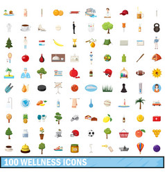100 wellness icons set cartoon style vector