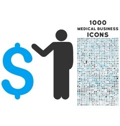Banker icon with 1000 medical business icons vector