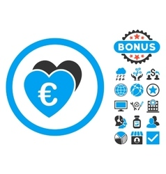 Euro favorites flat icon with bonus vector
