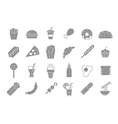 Junk food gray icons vector image