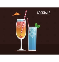 Cocktails blue and mimosa black background vector