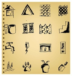 Doodle house icon set vector