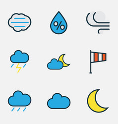 Climate colored outlines set collection of vector