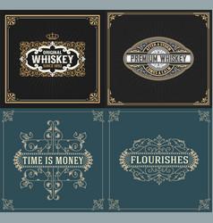 set of vintage and western labels vector image