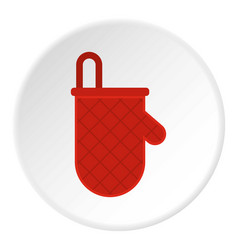 Red oven mitten icon circle vector