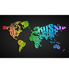 Colorful world map in typography vector