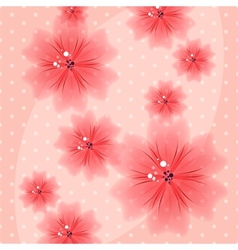 Colorful floral pink background with dots vector