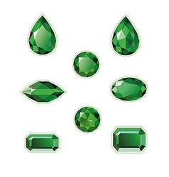 Emeralds set isolated objects vector