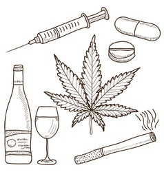 narcotics - marijuana alcohol vector image
