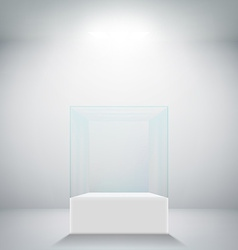 Empty glass showcase for exhibit vector