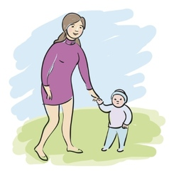 Woman with child vector