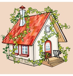 Cartoon fairy house overgrown with ivy vector