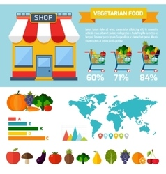 Vegetarian food infographic background vector