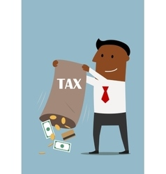 Businessman collecting taxes with bag of money vector