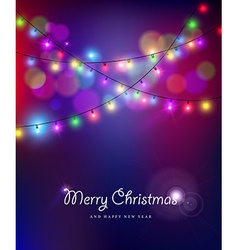 Merry christmas new year bokeh lights blur holiday vector