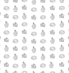 Seamless pattern with desserts hand drawn vector