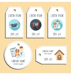 Pet clinic discount gift tags ready to use flat vector