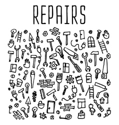 Hand drawn repairs construction tools seamless vector