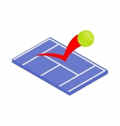 Flying tennis ball on a blue court icon vector