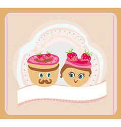 a cute pair of cookies vector image vector image