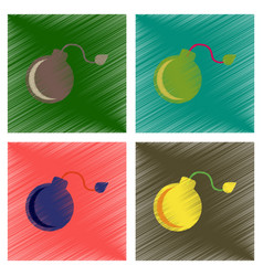 assembly flat shading style icons dangerous bomb vector image vector image