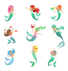 Beautiful fairy tale mermaid princess with vector