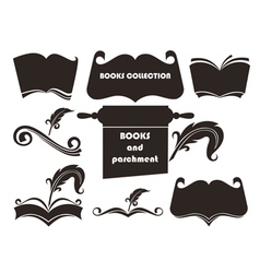 books silhouettes collection vector image