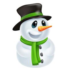 cartoon christmas snowman vector image vector image