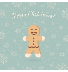 Christmas ginger cookie on winter backdrop vector