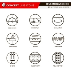 Concept line icons set 3 physics vector