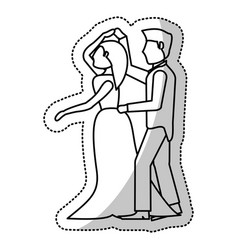 Couple wedding romantic outline vector