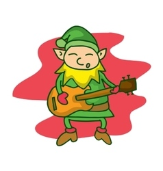 Cute elf with guitar cartoon vector